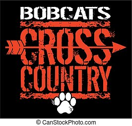 bobcats cross country - distressed bobcats cross country ...