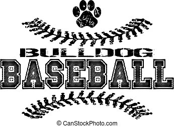 distressed bulldog baseball design with stitches
