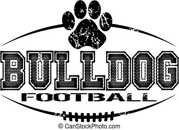 distressed bulldog football team design with paw print for school, college or league