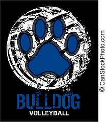 distressed bulldog volleyball design with paw print