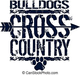 distressed bulldogs cross country team design with arrow and paw print