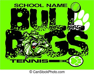 bulldogs tennis - distressed bulldogs tennis team design...