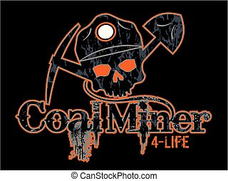 coal miner - distressed coal miner 4-life design with skull...