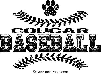 cougar baseball - distressed cougar baseball design with...