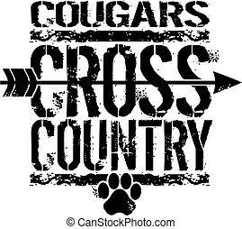 distressed cougars cross country team design with arrow and paw print