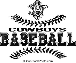 distressed cowboys baseball with stitches