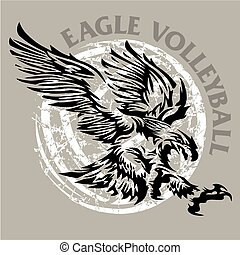 eagle volleyball - distressed eagle volleyball design with...