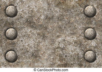 Distressed gray metal surface texture with two rows of rivets seamless tileable