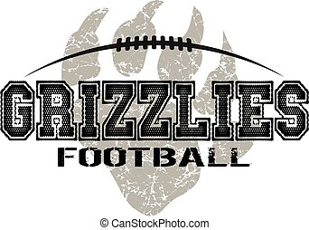 grizzlies football - distressed grizzlies football design...