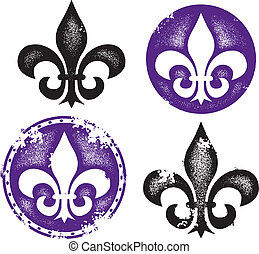 "Distressed ""grunge"" Fleur De Lis Collection."