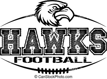 distressed hawks football team design with mascot for school, college or league