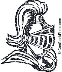 distressed knight mascot with helmet