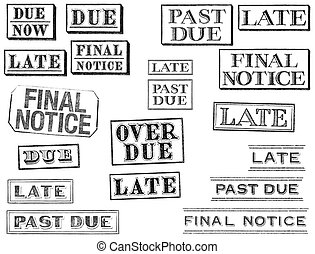 Distressed Late, Past Due, and Final Notice Stamps - A set...