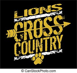 lions cross country - distressed lions cross country team ...