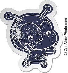 distressed old sticker kawaii of a cute lady bug