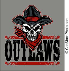 outlaws - distressed outlaws team design with skull and ...