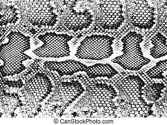 Distressed overlay texture of crocodile or snake skin leather, grunge vector background.