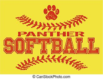 panther softball - distressed panther softball team design...
