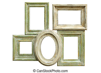 Distressed Picture Frames - Collection of distressed picture...