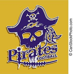 pirates football - distressed pirates football team design...