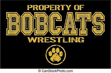 bobcats wrestling - distressed property of bobcats wrestling...