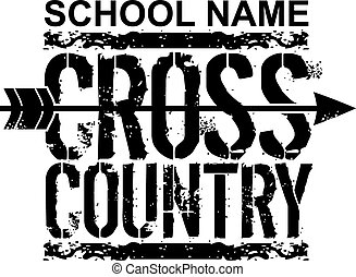 distressed school cross country design with arrow