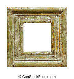 Square picture frame, with distressed crackle finish. Isolated on white.