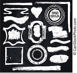 Vector Set of Distressed grundge textured Stamps and badges shapes .Abstractr grunge frame, lines , spot stroke. Vintage hand drawing ink style. Chalkboards