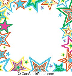 Distressed Stars Border - Illustration of bright stars...
