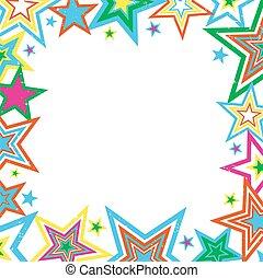 Distressed Stars Border - Illustration of bright stars...