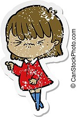 distressed sticker of a annoyed cartoon girl making accusation