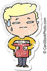 distressed sticker of a cartoon anxious boy carrying book