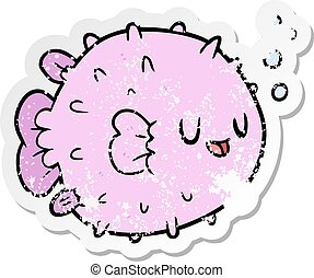 distressed sticker of a cartoon blowfish