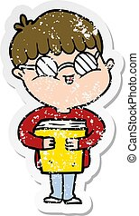 distressed sticker of a cartoon boy wearing spectacles carrying book