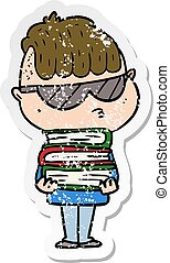 distressed sticker of a cartoon boy wearing sunglasses with stack of books