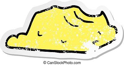 distressed sticker of a cartoon butter