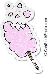 distressed sticker of a cartoon candy floss