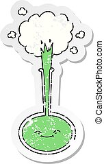 distressed sticker of a cartoon chemical reaction