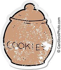 distressed sticker of a cartoon cookie jar