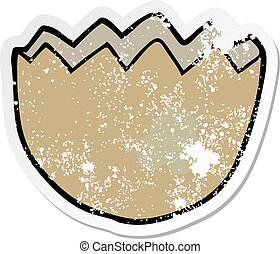 distressed sticker of a cartoon cracked eggshell