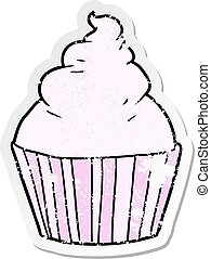 distressed sticker of a cartoon cup cake