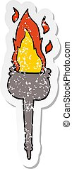 distressed sticker of a cartoon flaming chalice