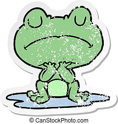distressed sticker of a cartoon frog in puddle