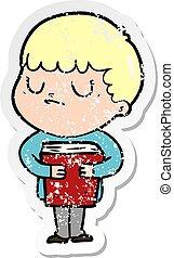 distressed sticker of a cartoon grumpy boy