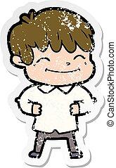 distressed sticker of a cartoon happy boy