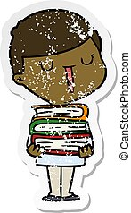 distressed sticker of a cartoon happy boy with stack of books