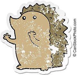 distressed sticker of a cartoon hedgehog