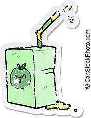 distressed sticker of a cartoon juice box