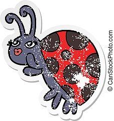 distressed sticker of a cartoon ladybug