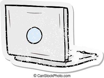 distressed sticker of a cartoon laptop computer